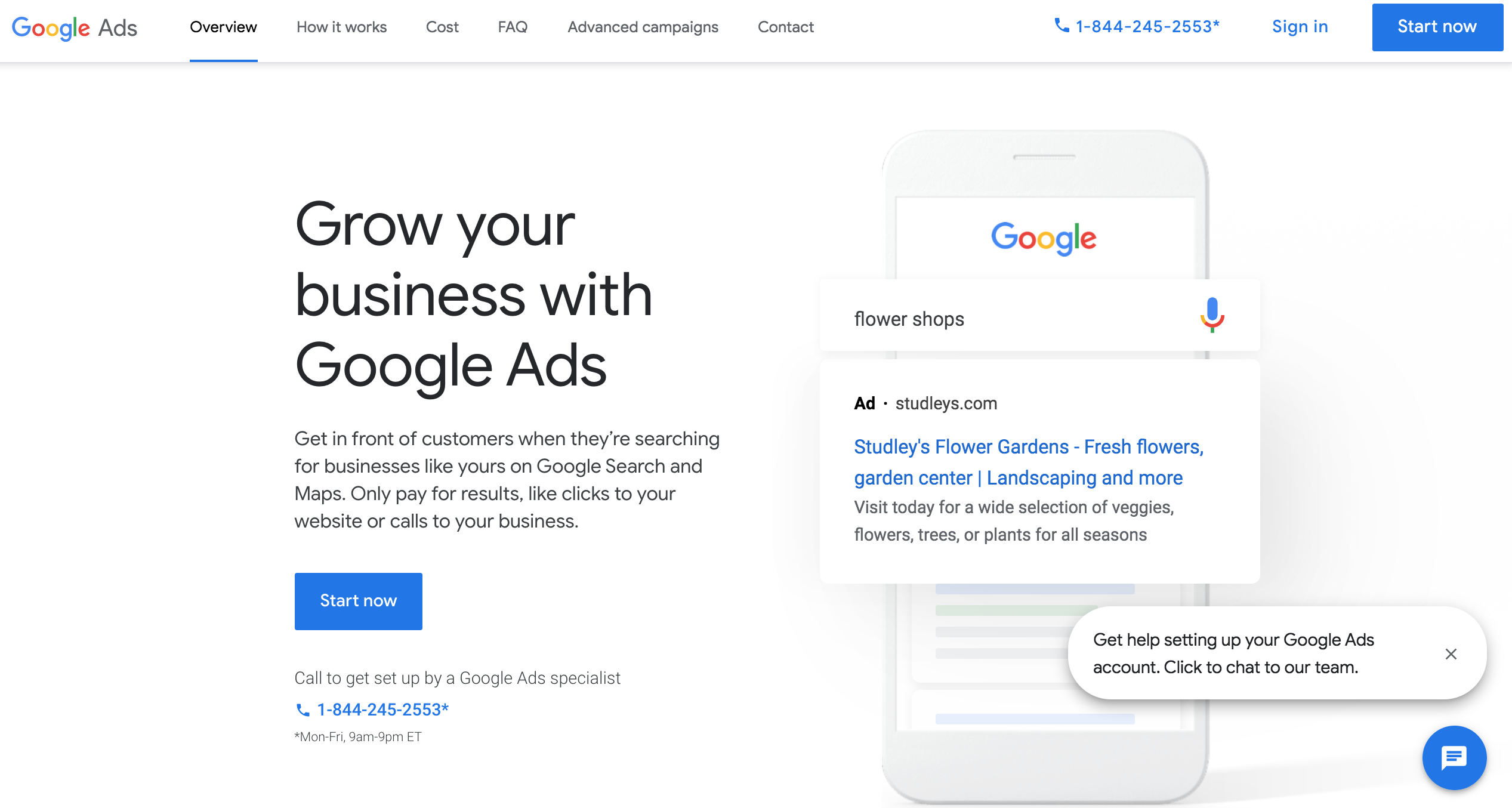 Start Now w/ Google Ads copy