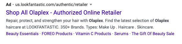 Types Structured Snippets for Google ads for hair salons