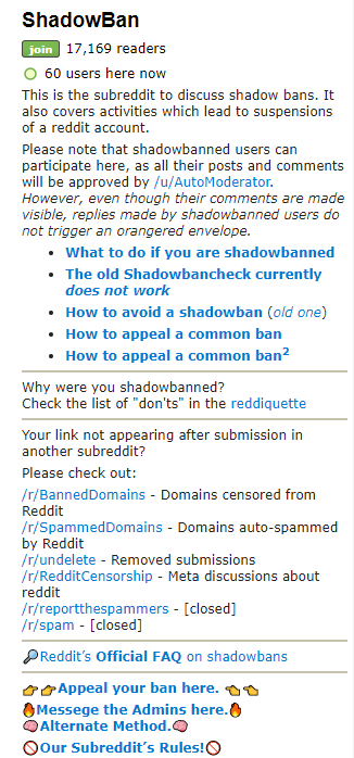 r/shadowban subreddit description