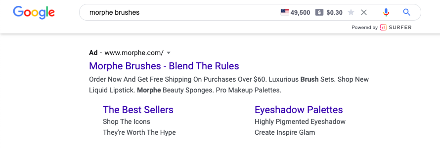 Branded search ad example- Morphe Brushes