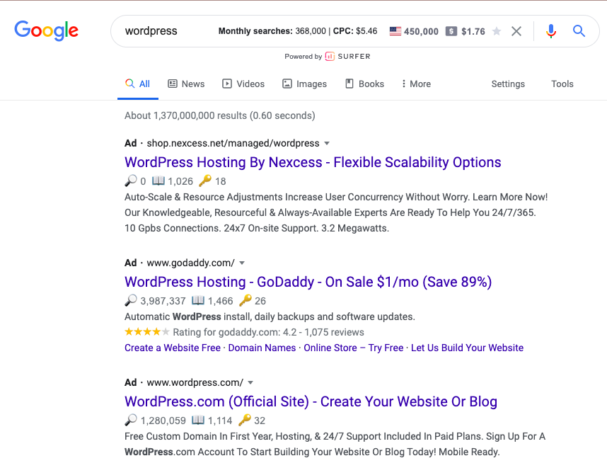 Competitor Search Campaign example