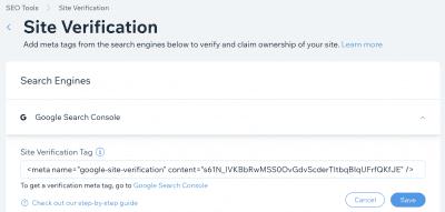 Google Search Console Wix Verification