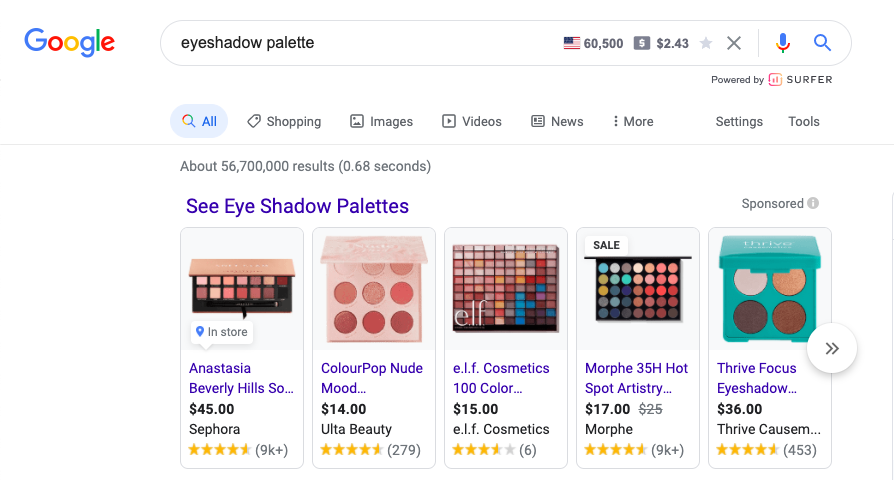 Google Shopping Ad Generic Example- Eyeshadow palette