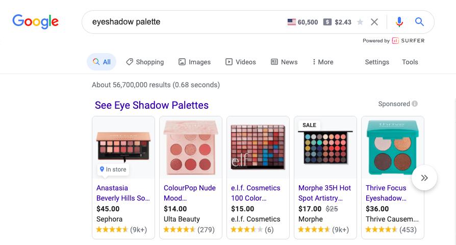 Google Shopping Ad Generic Example- Eyeshadow palette