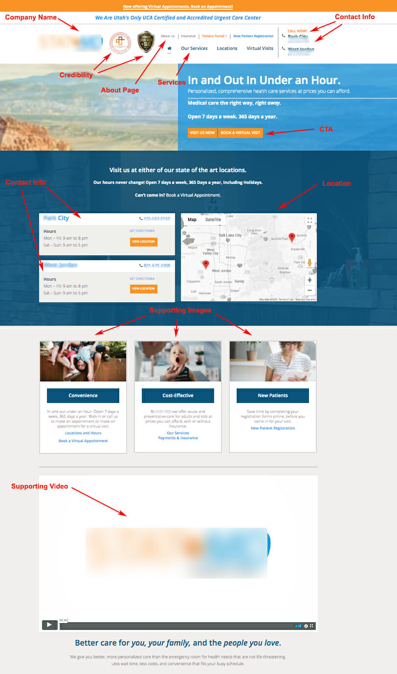Landing page example for Pediatric