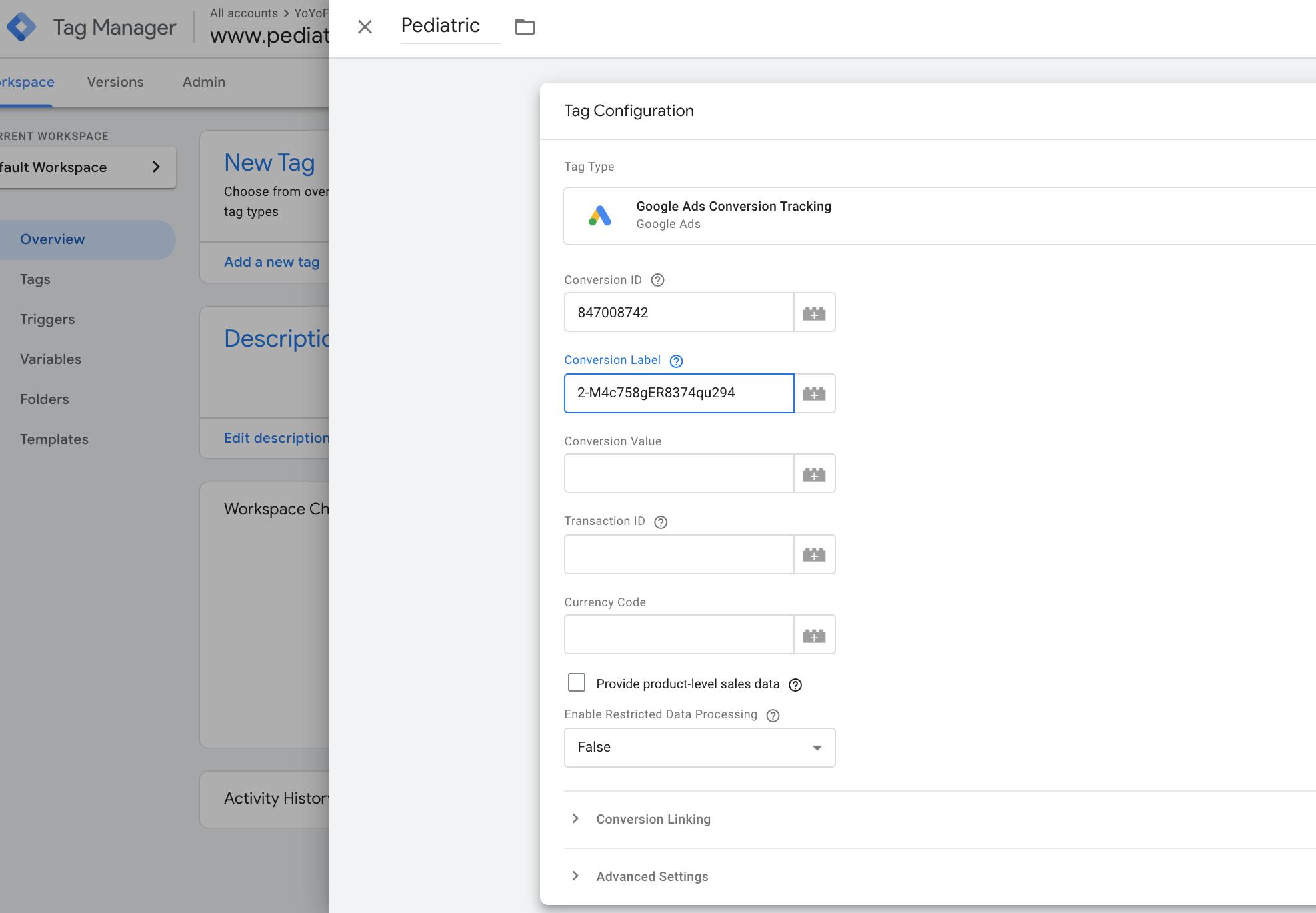 Trigger Configuration for Peds Website