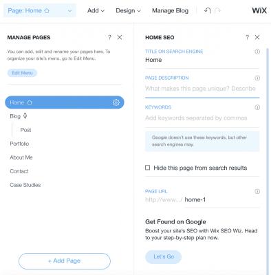 Wix Page SEO