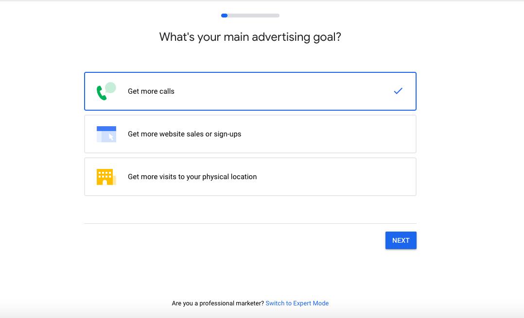 Main Advertising Goal- Google Ads
