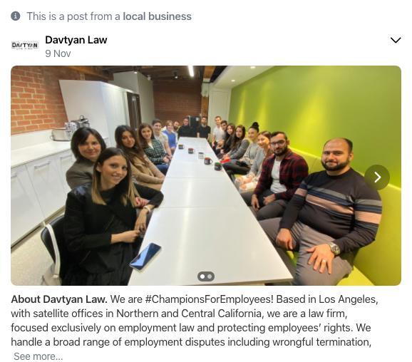 Nextdoor for Business - Law firm example