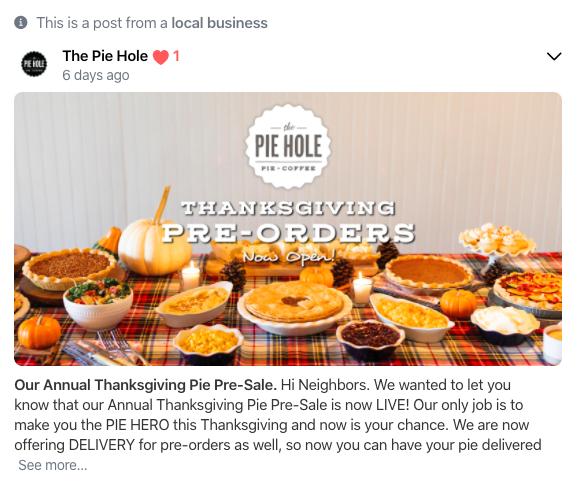 Nextdoor for Business - Restaurant example
