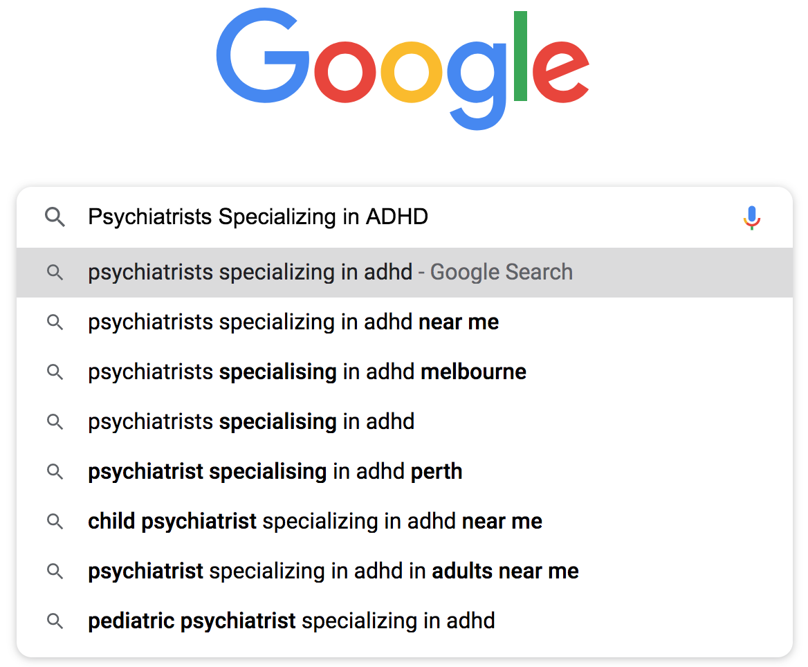 Psychiatrists Specializing in ADHD example for SEO long tail keyword