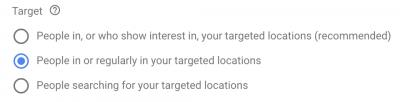 Google Ads Location Target
