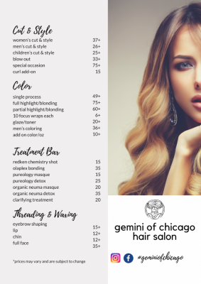 hair salon services menu