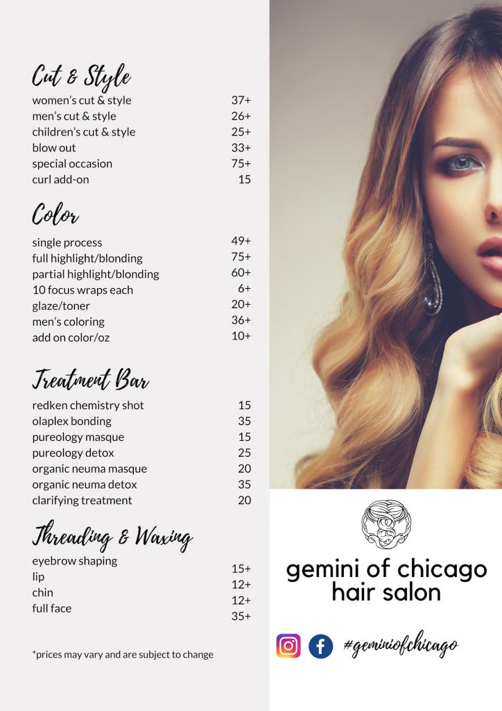 seo hair salon services menu