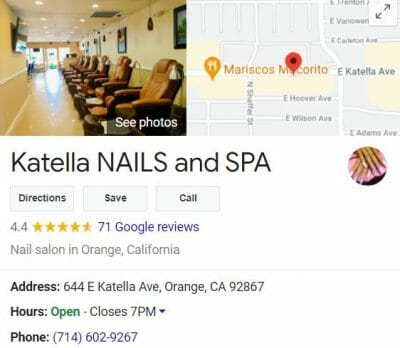 seo for nail salon and spa google my business example