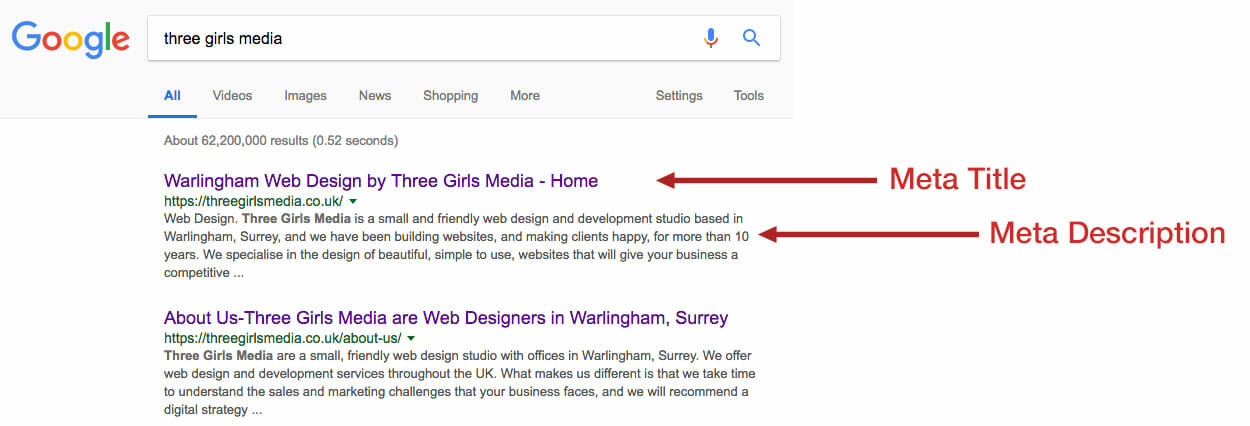 seo for hair salons title tag and meta description