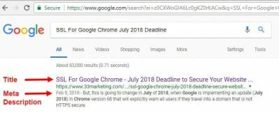 title tag and meta descriptions example