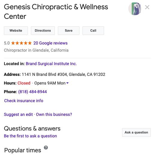 Chiropractor Google My Business Profile