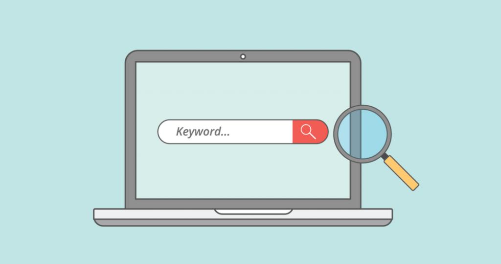 """word """"keyword"""" on a laptop"""