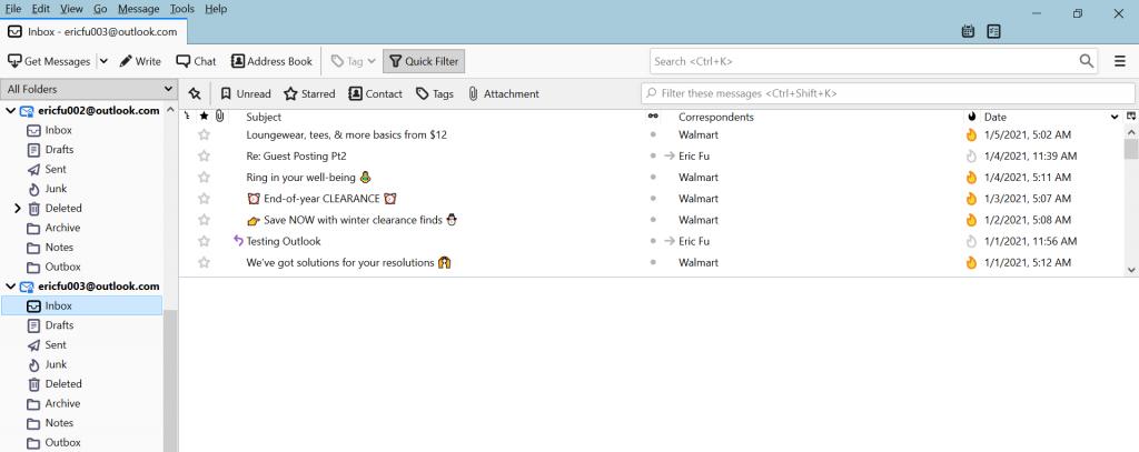 Mozilla Thunderbird inbox