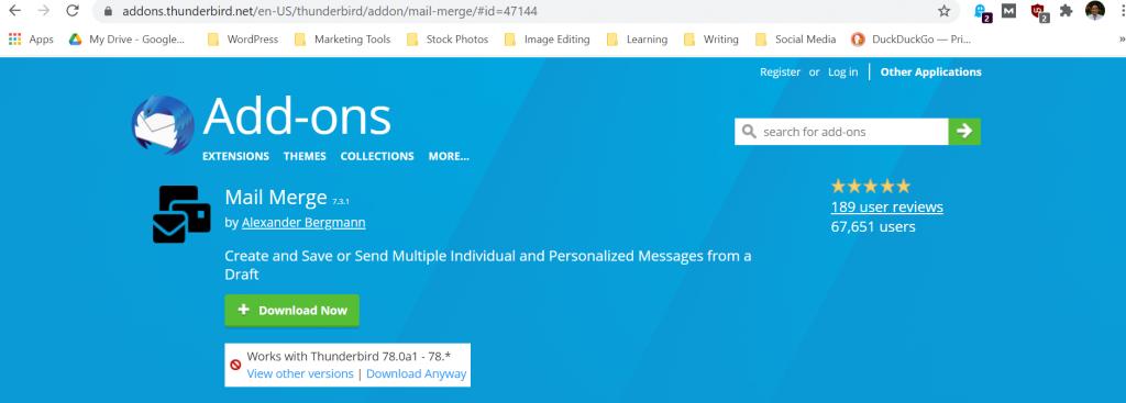 Thunderbird mail merge add-on