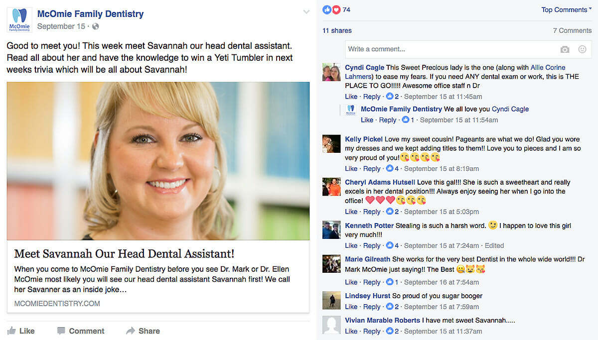 social media ideas for dentist personal interactions