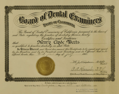 License of Dentist