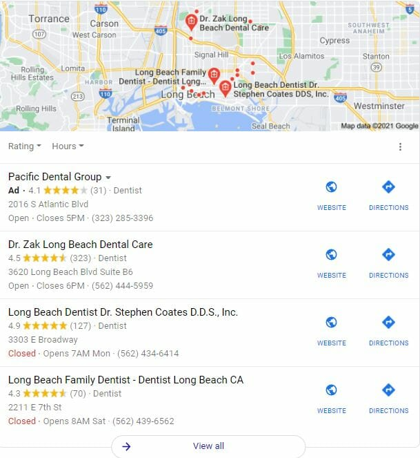 dental marketing strategy google map pack