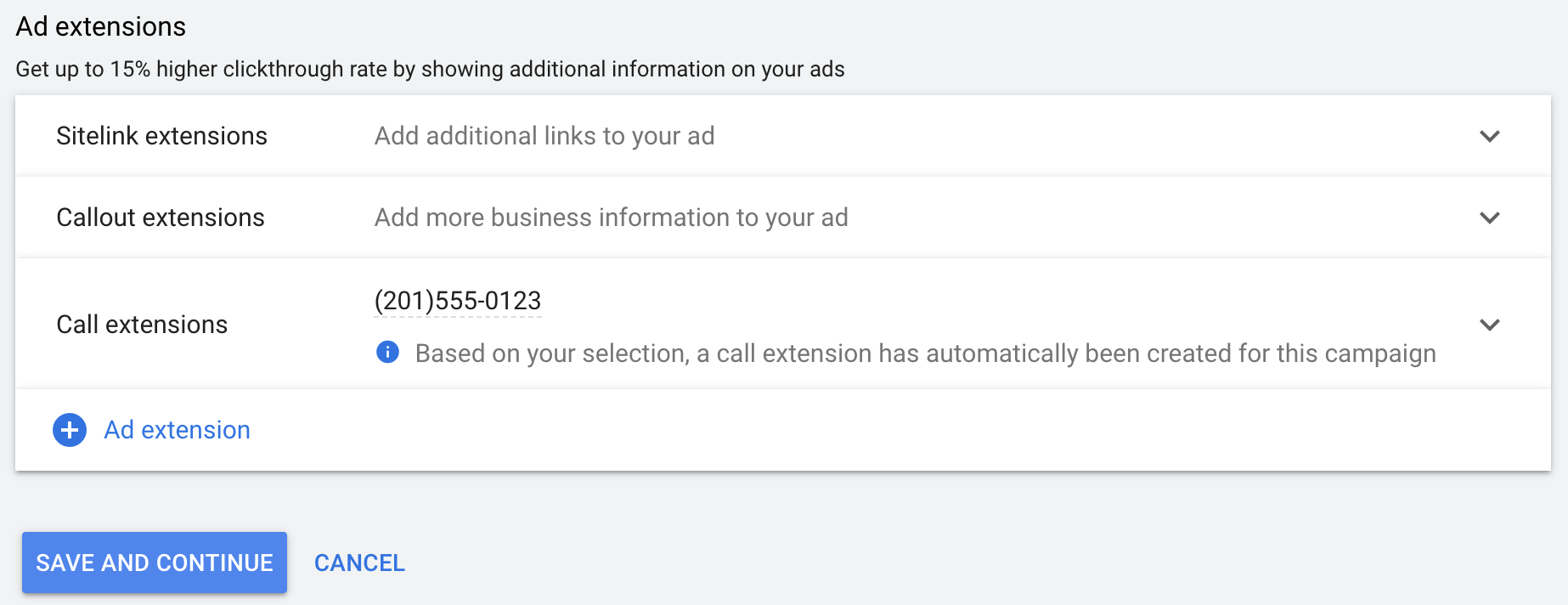 Ad Extensions Settings
