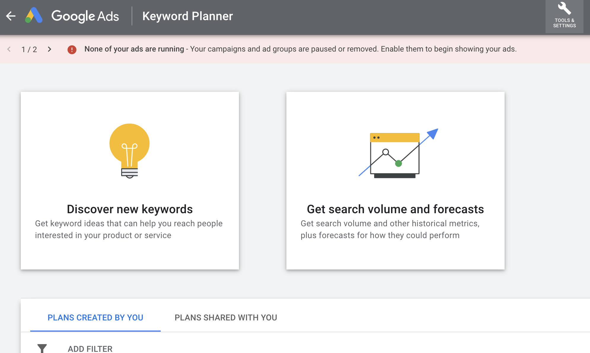 Discover keyword options