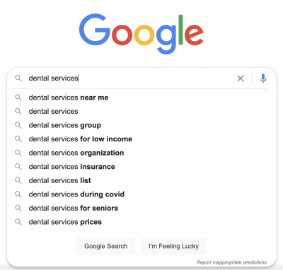 Google's autocomplete suggestions