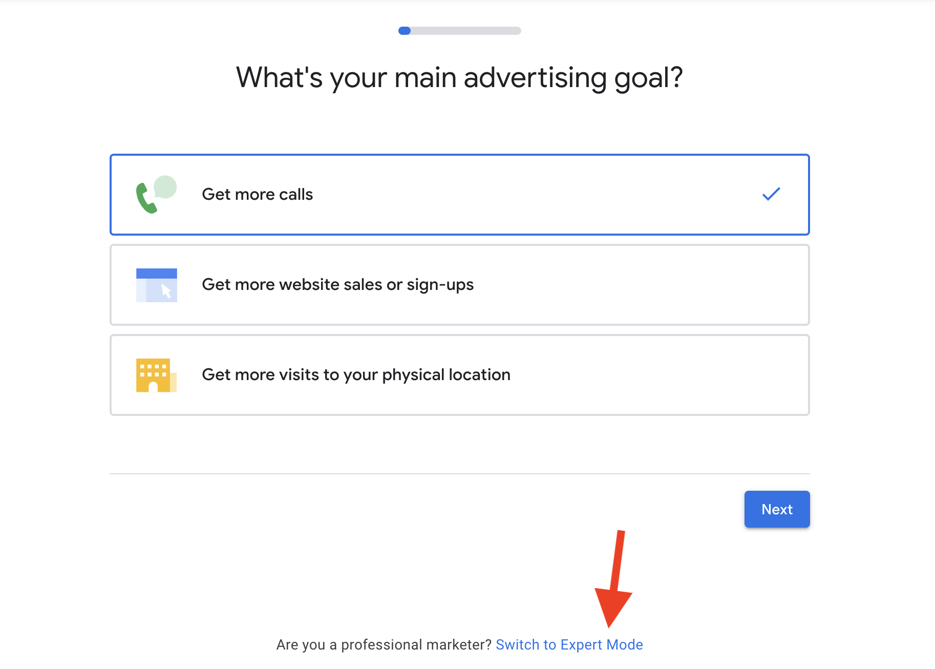 1 Switch to Expert Mode for your Google Ads for Dermatologists campaign