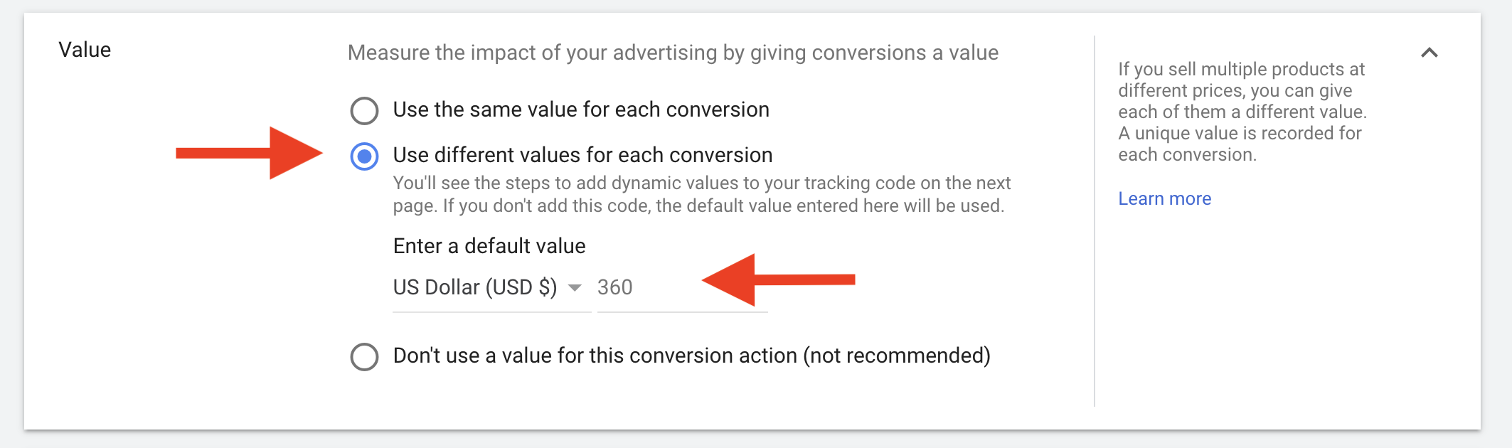 25 Assigning a price to the conversion